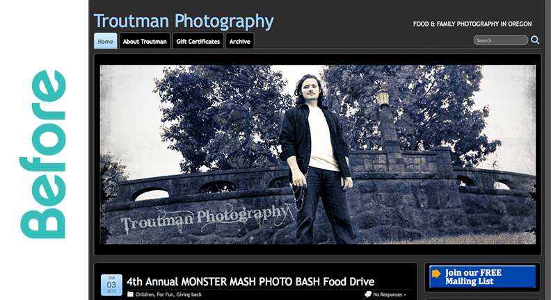 Troutman Photo Website - Before